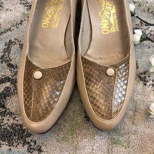 Salvatore Ferragamo Shoes - Vintage Salvatore Ferragamo snakeskin button shoes